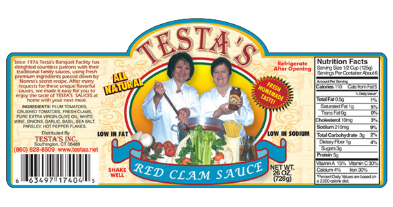 Testa's Red Clam Sauce Label