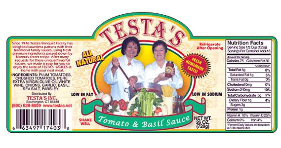 Testa's Tomato & Basil Sauce Label