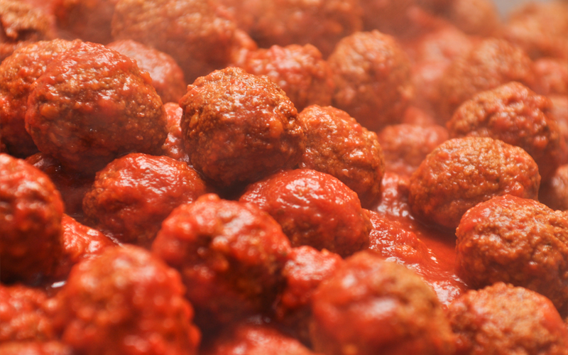 Tray of Fresh Meatballs