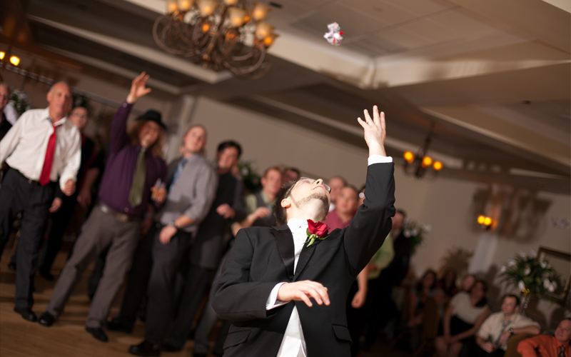 Groom Throwing Garder