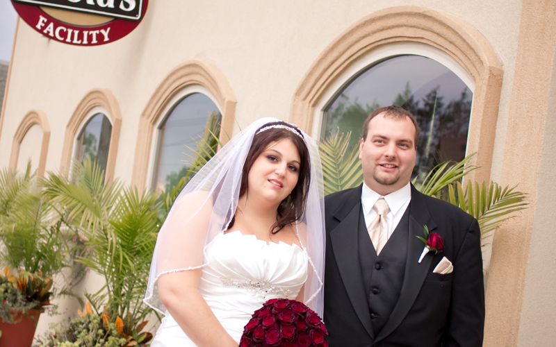 Wedding Portrait in Front of Testa's
