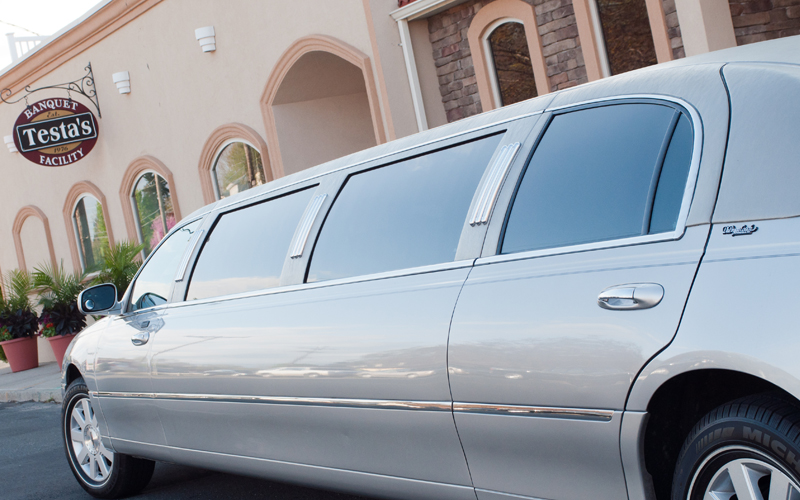 Limo Dropping off Bride at Wedding Reception